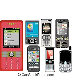 Cell phones on white background. Vector