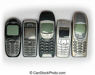 Cell Phones - 5 Cell Phones in row. A little used.