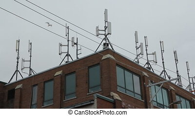 Cell site on building. Bird flies. - Cellphone antennaes on...