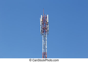 Cell site, Telecommunications radio tower or mobile phone base station with atop the antenna.