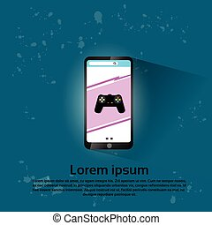 Cell Smart Phone Game Application Flat Vector Illustration