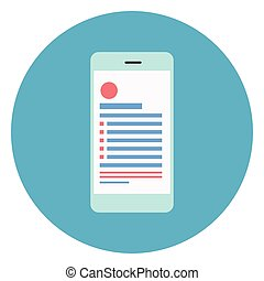 Cell Smart Phone Icon On Round Blue Background