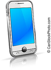 Stylish modern cell mobile phone on a white background with reflection - All elements are grouped and on individual layers in the vector file for easy use.