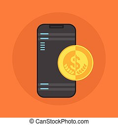 Cell Smart Phone With Coin Contactless Mobile Payment Icon...