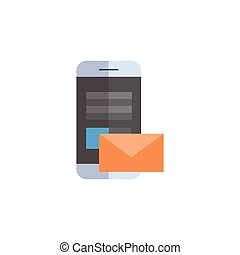 Cell Smart Phone With Envelope Icon Email Letter Messanger