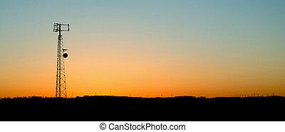cell, solnedgång, blå, torn, gräns, ringa