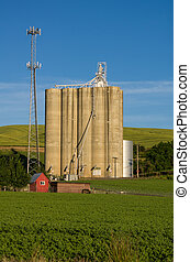 Cell tower and grain silo with green field