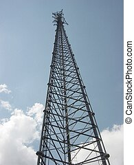 Steel Tower erected to mount cellular phone equipment to for specific area reception.