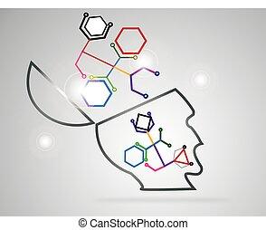 cell., vektor, verbunden, gefärbt, grafik