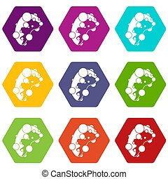Cell virus icon set color hexahedron