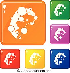 Cell virus icons set vector color