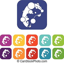Cell virus icons set
