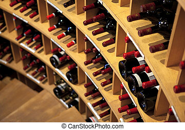 Cellar - Bottles of red wine in a cellar