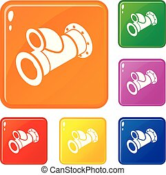 Cellar pipe icons set vector color - Cellar pipe icons set...