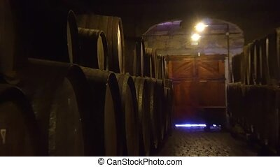 cellar with wine barrels - cellar withold wooden wine...