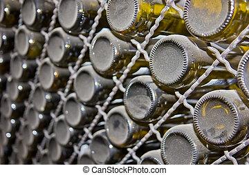cellar with wine bottles