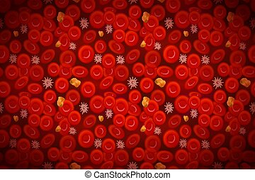 celler, erythrocytes, kolesterol, blod, bakgrund, vit, ...