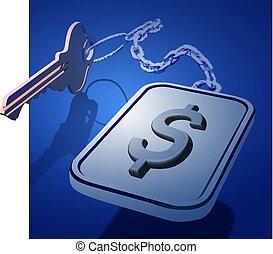 celler, icon., kæde, finans, vektor, nøgler, forøgelse, dollar, system., begreb, bankvirksomhed, bevarelse, osv.., deposita, arbejder, bank, keychain