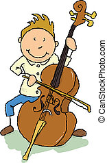 Cellist - A young man playing the cello