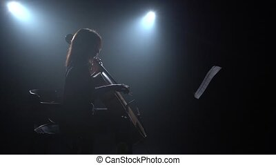 Cellist performs on stage with a lantern. Silhouette. Black...