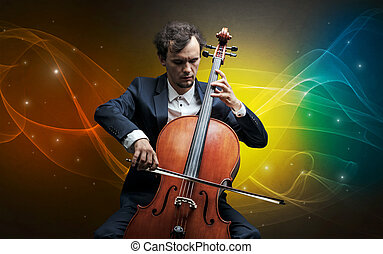 Cellist with colorful fabled concept