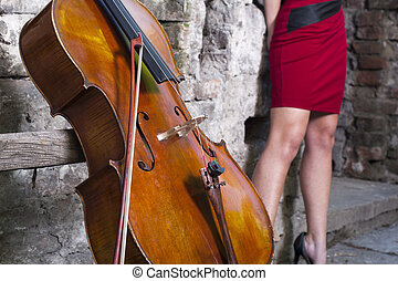 cello, and female feet