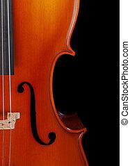 Cello closeup - Closeup of a cello isolated on black