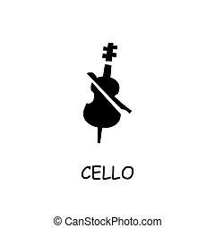 Cello flat vector icon
