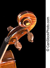 cello head - head part of a beautiful cello with finely...