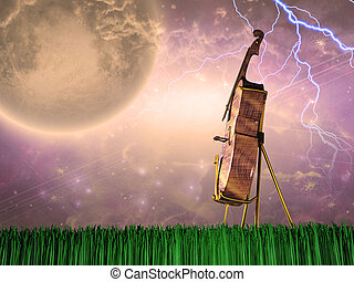 Cello in dream like landscape - Cello in stormy landscape....