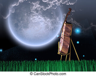 Cello in dream like landscape. Giant moon in the sky