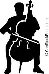 Cello player silhouette