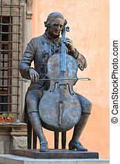 Cello Player Statue (Bronze)