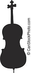 cello silhouette - isolated vector illustration