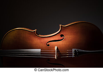 Cello silhouette - Silhouette of a Cello on black background...