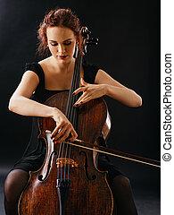 cello, spelend, mooi, vrouwlijk