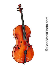 Cello with Clipping Path - Cello, isolated on white with...
