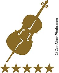 Cello with five golden stars
