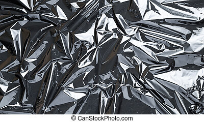 cellophan, dunkel, kreativ, schwarz, glänzend, durchsichtig, plastiksack, wrap., texture., zerknittert, hintergrund., film, pattern.