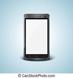 cellphone, écran, vecteur, vide