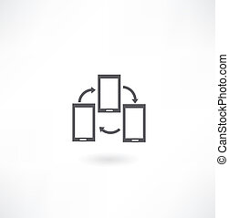 cellphone and blue arrow icon
