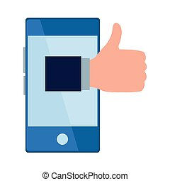 cellphone and thumb up icon cartoon