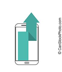 cellphone and up arrow  icon