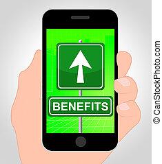 cellphone, avantages, bonification, illustration, ligne, spectacles, 3d