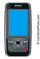Illustration of a black cellphone front view isolated on white background done in retro style.