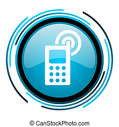 cellphone blue circle glossy icon