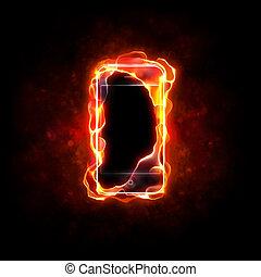 cellphone, burning