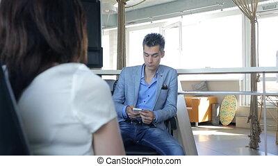 cellphone, business, appeler, employee., devant, homme