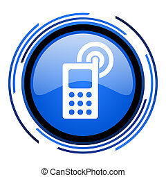 cellphone circle blue glossy icon