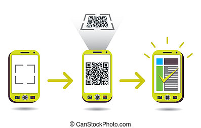 cellphone, code, balayage, projection, traitement, qr